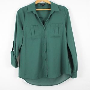 7a341e73314e3f mine Tops | Sheer Dark Green Button Down Blouse | Poshmark